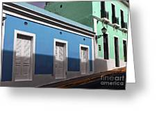 San Juan Street Colors Greeting Card by John Rizzuto
