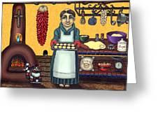 San Pascual Making Biscochitos Greeting Card by Victoria De Almeida