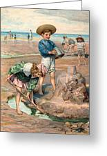 Sand Castles At The Beach Greeting Card by Unknown