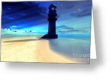 Sand Island Light Greeting Card by Corey Ford