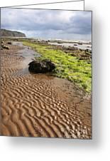 Sand Patterns On Robin Hoods Bay Beach Greeting Card by Deborah Benbrook