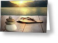Sandals and rocks Greeting Card by Sandra Cunningham