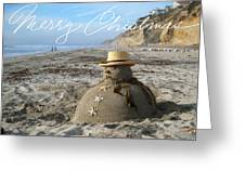 Sandman Snowman Greeting Card by Mary Helmreich