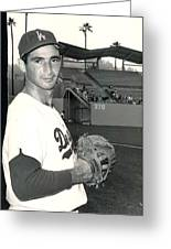 Sandy Koufax Photo Portrait Greeting Card by Gianfranco Weiss