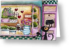 Sandy's Floral Shop Greeting Card by Lucia Stewart