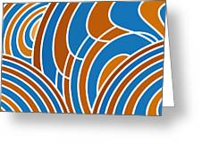 Sanguine And Blue Abstract Greeting Card by Frank Tschakert