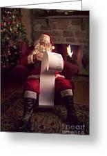 Santa Checking His List Greeting Card by Diane Diederich