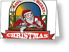 Santa Claus Father Christmas Writing Letter Greeting Card by Aloysius Patrimonio