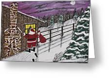 Santa Claus Is Watching Greeting Card by Jeffrey Koss