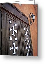 Santa Cruz De La Canada Mission Doors Greeting Card by Julie Magers Soulen
