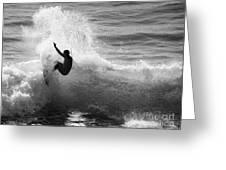 Santa Cruz Surfer Black And White Greeting Card by Paul Topp