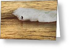 Santa Cruz Surfing at the Golden Hour Greeting Card by Artist and Photographer Laura Wrede