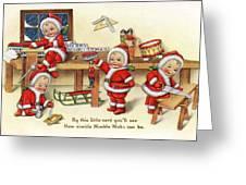 Santa Helpers At Work Greeting Card by Munir Alawi