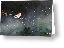 Santa Is Coming Greeting Card by Yoshiko Mishina