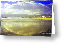 Santa Monica Beach Greeting Card by Jerome Stumphauzer