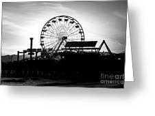 Santa Monica Ferris Wheel Black And White Photo Greeting Card by Paul Velgos