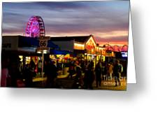 Santa Monica Pier At Sunset Greeting Card by Diana Sainz