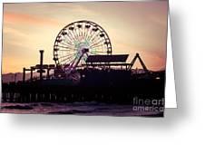 Santa Monica Pier Ferris Wheel Retro Photo Greeting Card by Paul Velgos