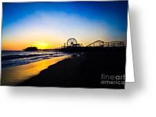 Santa Monica Pier Pacific Ocean Sunset Greeting Card by Paul Velgos