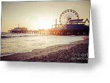 Santa Monica Pier Retro Sunset Picture Greeting Card by Paul Velgos