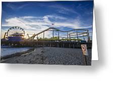 Santa Monica Pier Rides No Swimming Beach Greeting Card by Scott Campbell