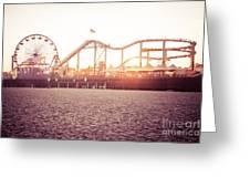 Santa Monica Pier Roller Coaster Retro Photo Greeting Card by Paul Velgos