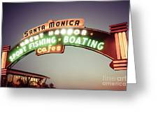 Santa Monica Pier Sign Retro Photo Greeting Card by Paul Velgos