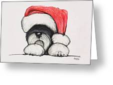 Santa Schnauzer Greeting Card by Katerina A Cechova