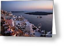 Santorini At Dusk Greeting Card by David Smith