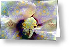Satin Flower Fractal Kaleidoscope Greeting Card by Renee Trenholm