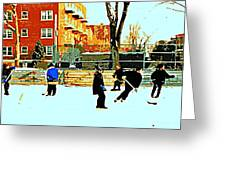 Saturday Afternoon Hockey Practice At The Neighborhood Rink Montreal Winter City Scene Greeting Card by Carole Spandau