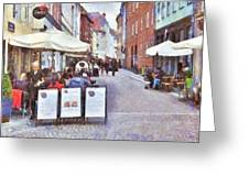 Saturday Brunch At A Copenhagen Cafe Greeting Card by Digital Photographic Arts