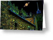 Saturn Over Pabst Brewery Fantasy Image Of Abandoned Home Of Blue Ribbob Beer From 1860 Greeting Card by Lawrence Christopher