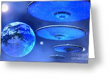 Saucers Greeting Card by Corey Ford