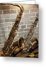 Sax Duo Greeting Card by Lindy Brown