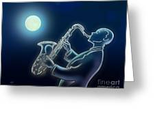 Sax-o-moon Greeting Card by Bedros Awak