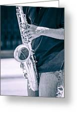 Saxophone Player On Street Greeting Card by Carolyn Marshall