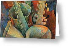 Saxophones And Bass Greeting Card by Susanne Clark
