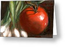 Scallions And Tomato Greeting Card by Addie Hocynec
