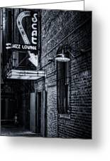 Scat Lounge In Cool Black And White Greeting Card by Joan Carroll