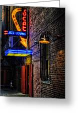 Scat Lounge Living Color Greeting Card by Joan Carroll