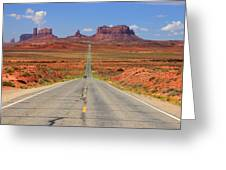 Scenic road into Monument Valley Greeting Card by Johnny Adolphson