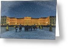 Schonbrunn Christmas Market Greeting Card by Joan Carroll