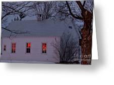 School House Sunset Greeting Card by Cheryl Baxter