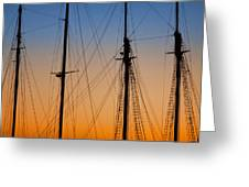 Schooner Masts Martha's Vineyard Greeting Card by Carol Leigh