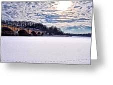 Schuylkill River - Frozen Greeting Card by Bill Cannon