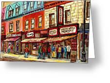 Schwartz The Musical Painting By Carole Spandau Montreal Streetscene Artist Greeting Card by Carole Spandau