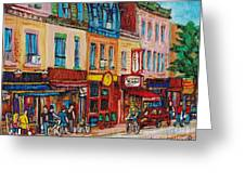 Schwartzs Deli And Warshaw Fruit Store Montreal Landmarks On St Lawrence Street Greeting Card by Carole Spandau