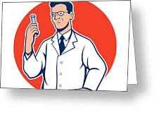 Scientist Lab Researcher Chemist Cartoon Greeting Card by Aloysius Patrimonio