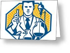 Scientist Lab Researcher Chemist Retro Greeting Card by Aloysius Patrimonio